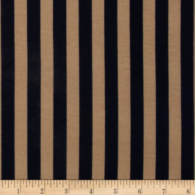 Soft Jersey Knit Small Stripes Navy/Tan