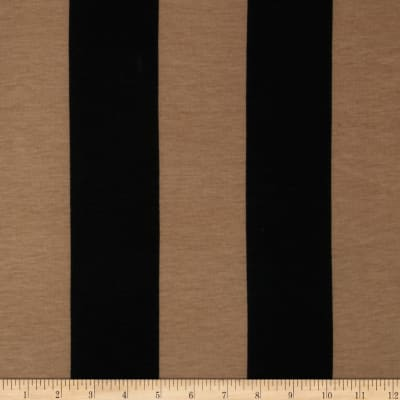 Soft Jersey Knit Large Stripes Black/Tan