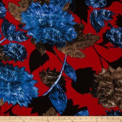 Soft Jersey Knit Floral Royal/Red