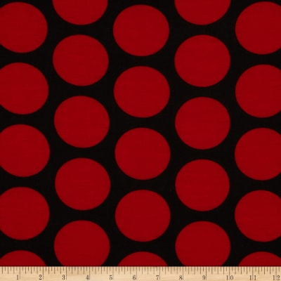 Soft Jersey Knit Polka Dot Red/Black