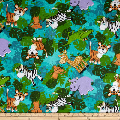 Flannel Baby Jungle Animals Blue