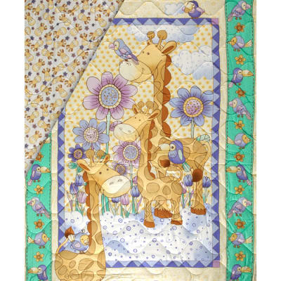 Giraffe Family Double Sided Quilted Baby Panel Multi