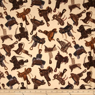 Kanvas Wild Wild West Western Saddles Print Fabric in Tan