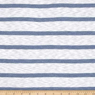 Designer Yarn Dyed Slub Jersey Knit Stripes Dusty Blue/White