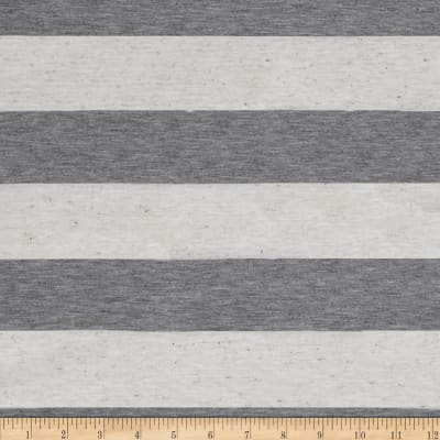 Designer Yarn Dyed Jersey Knit Stripes Grey/Ivory