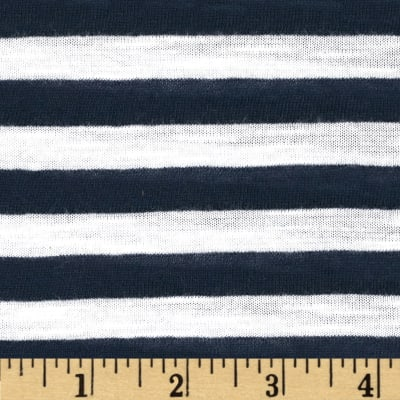 Designer Yarn Dyed Slub Jersey Knit Stripe Navy/White
