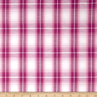 Stretch Yarn Dyed Plaid Shirting Fuchsia/White