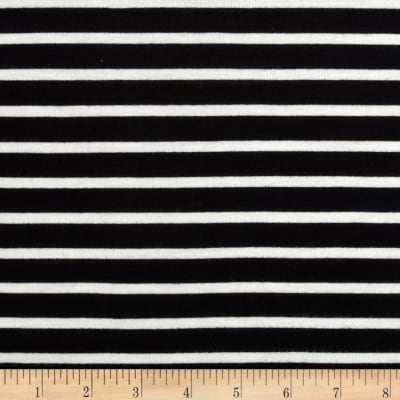 Rayon Jersey Small Stripe Jersey Knit Black/Off White