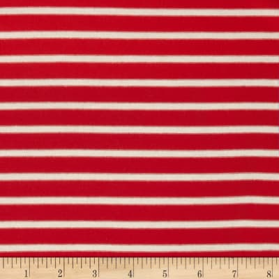 Stretch Rayon Jersey Knit Small Stripe Coral Chic/Off White