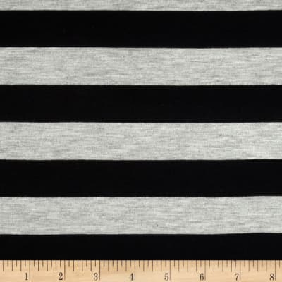 Stretch Rayon Jersey Knit Large Stripe Black/Heather Grey