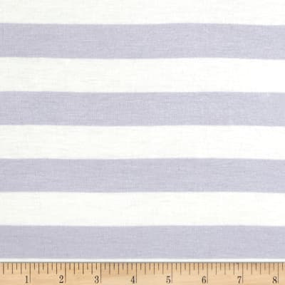 Stretch Rayon Jersey Knit Large Stripe Lilac Pale/White