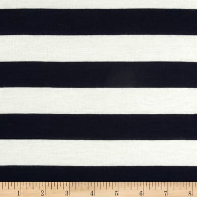 Rayon Jersey Large Stripe Navy/Off White