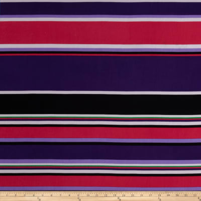 Stretch ITY Jersey Knit Stripe Purple/Black/Fuschia