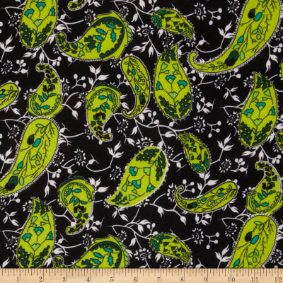 Stretch ITY Jersey Knit Paisley Black/Lime