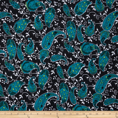 Stretch ITY Jersey Knit Mid Paisley Black/Jade