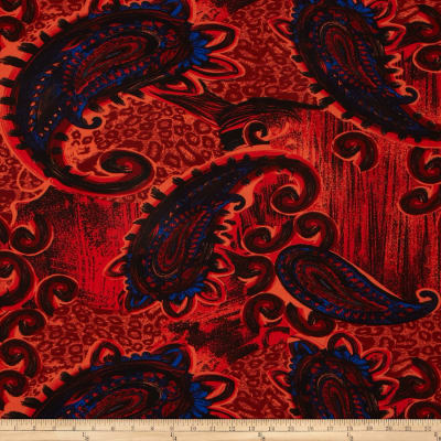 Stretch ITY Jersey Knit Large Paisley Red/Blue