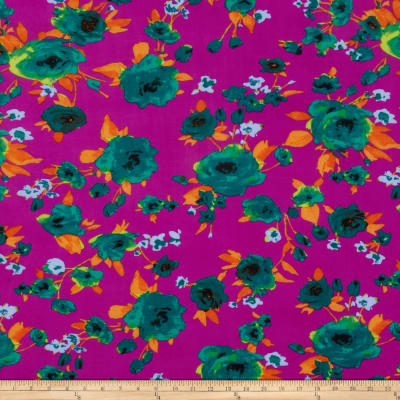 Stretch ITY Jersey Knit Floral Purple/Jade