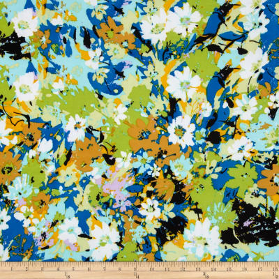 Stretch ITY Jersey Knit Floral Blue/Green