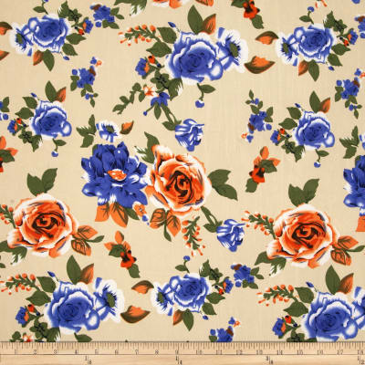 Stretch ITY Jersey Knit Floral Beige/Blue/Orange