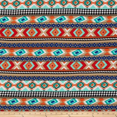 Stretch ITY Jersey Knit Aztec Orange/Blue/Beige