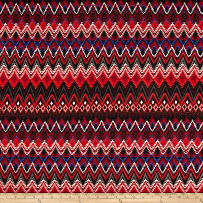 Stretch ITY Jersey Knit Aztec Red/White/Blue