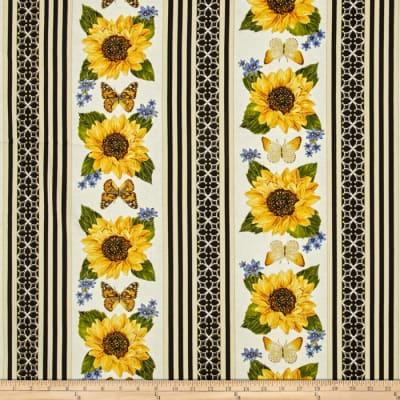 Kanvas Forever Sunflowers Metallic Stripe Cream