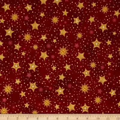 Kaufman Radiant Holiday Metallic Stars Crimson