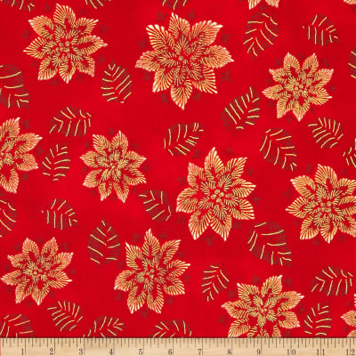 Kaufman Winters Grandeur Metallic Snowflakes & Leaves Red