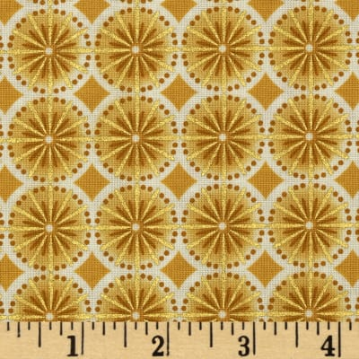 Kaufman Winters Grandeur Metallic Circle Grid Ivory