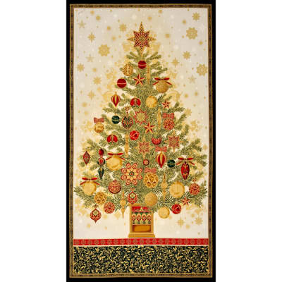Kaufman Winters Grandeur Metallic 24 In. Tree Panel Holiday