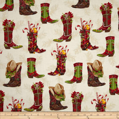 Kaufman Holly Jolly Christmas Cowboy Boots Holiday