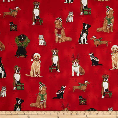 Kaufman Holly Jolly Christmas Holiday Dogs & Cats Holiday
