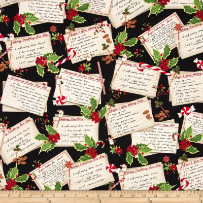 Kaufman Holly Jolly Christmas Recipe Cards Black