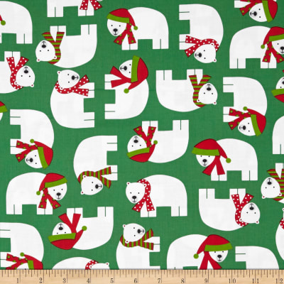 Kaufman Jingle Polar Bears Green