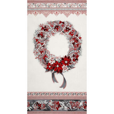 Kaufman Holiday Flourish Metallic 24 In. Wreath Panel Silver