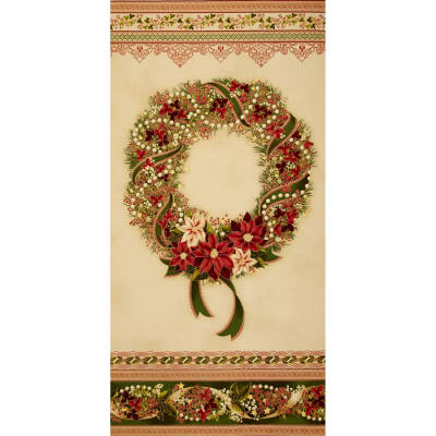 Kaufman Holiday Flourish Metallic 24 In. Wreath Panel Country