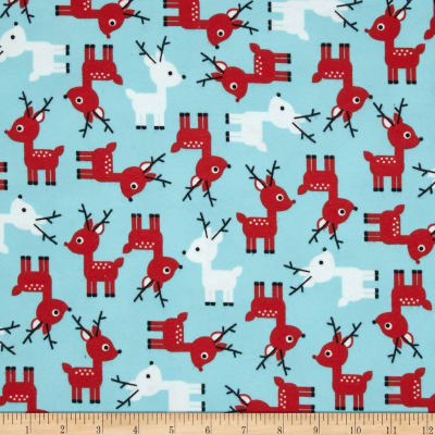 Kaufman Jingle Flannel Small Deer Glacier