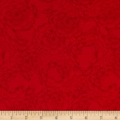 Timeless Treasures Color Crust Packed Floral Red