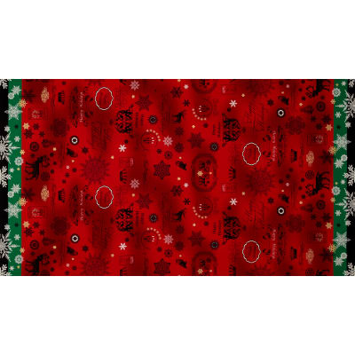 Lecien Happy Holidays Double Border Red