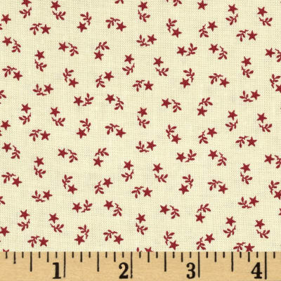 Let Freedom Ring Star Sprigs Cream/Red