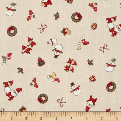 Lecien Merry Taupe Small Character Toss Taupe