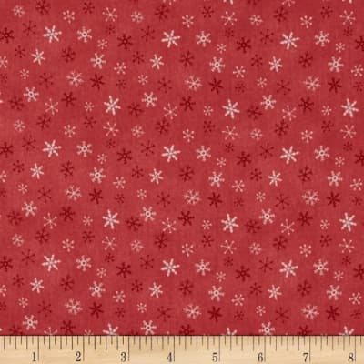Lecien Merry Taupe Snowflakes Red