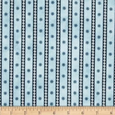 Frolic in the Snow Flannel Diamond Stripe Blue
