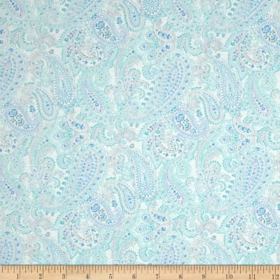 Something Blue Linear Paisley White
