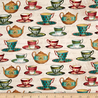 Tea Pot Flora Teacups Cream/Multi
