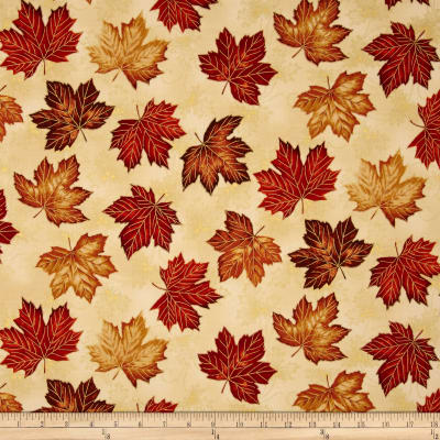 East Grove Metallic Tossed Leaves Cream