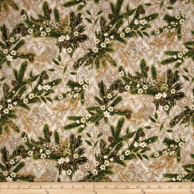 Evergreen Metallic Christmas Flora Parchment