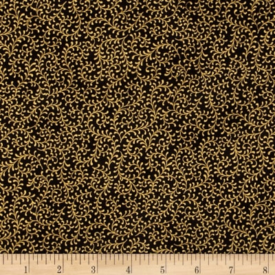 Royal Peacock Metallic Filigree Vine Black/Gold