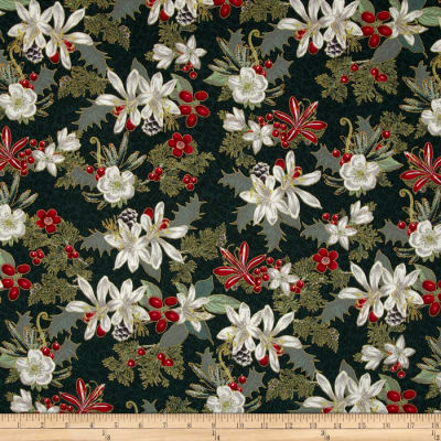 Memento Metallic Christmas Floral Evergreen/Gold
