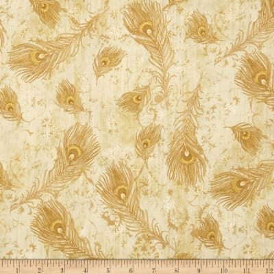 Peacock Ornamental Metallic Peacock Feathers Cream/Gold